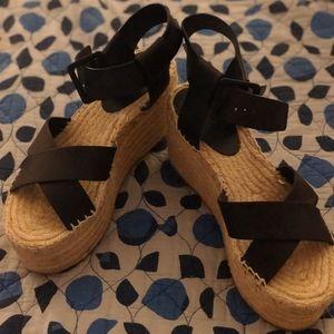 Espadrille Platform Heels With Black Straps